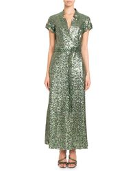 Pascal Millet - Short-sleeve Notched-collar Sequin Wrap Evening Gown - Lyst