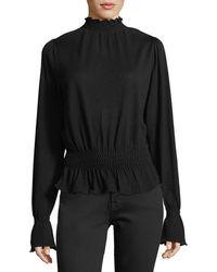 FRAME - Smocked Mock-neck Long-sleeve Wool Sweater - Lyst