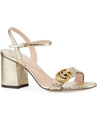 be3da008c51 Lyst - Gucci Marmont Floral-print Leather Block-heel Sandals in Pink