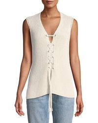 Cupcakes And Cashmere - Kristy Lace-up Sleeveless Sweater - Lyst