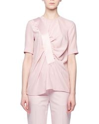 Victoria, Victoria Beckham - Asymmetric Shirred-front Short-sleeve Silk Top - Lyst
