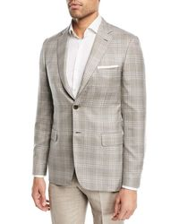Brioni - Plaid Cashmere-blend Blazer Camel/gray - Lyst