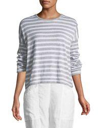 Eileen Fisher - Organic Linen Striped Sweatshirt - Lyst
