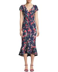 David Meister - V-neck Floral-print Flutter Belted Dress - Lyst