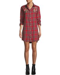 Kendall + Kylie - Embroidered Plaid Frayed Shirtdress - Lyst