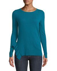 Neiman Marcus - Side-ruffle Long-sleeve Cashmere Sweater - Lyst