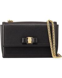1afddb86ca5b Ferragamo - Ginny Medium Vara Crossbody Bag Black - Lyst