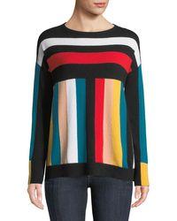 Neiman Marcus - Cashmere Multi-stripe Boxy Sweater - Lyst