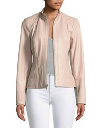 Neiman Marcus - Quilted-shoulder Zip-front Leather Jacket - Lyst