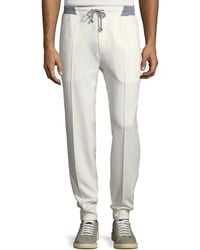 Brunello Cucinelli - Men's Drawstring Spa Sweatpants With Front Crease - Lyst
