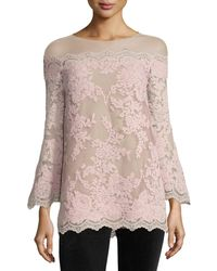 Marchesa - Bell-sleeve Corded Lace Illusion Top - Lyst