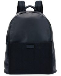 Giorgio Armani - Leather & Knit Backpack - Lyst