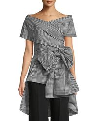 Lela Rose - Open-neck Coated Plaid Wrap Top - Lyst