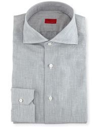 Isaia   Solid Linen-cotton Dress Shirt   Lyst
