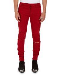 Balmain - Distressed Skinny Solid Jeans - Lyst