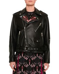 Valentino - Love Blade Embroidered Leather Moto Jacket - Lyst