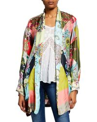 Johnny Was - Flower Block Long-sleeve Silk Kimono Robe - Lyst