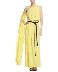 Marc Jacobs - One-shoulder Belted Drape Jersey Evening Gown - Lyst