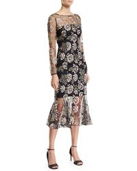 Zac Zac Posen - Robbie Floral-embroidered Long-sleeve Dress - Lyst