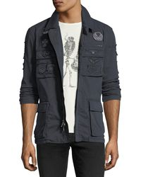 John Varvatos - Patched Mid-length Twill Jacket - Lyst
