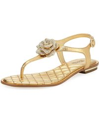 MICHAEL Michael Kors - Lucia Crystal Flower Thong Sandals - Lyst