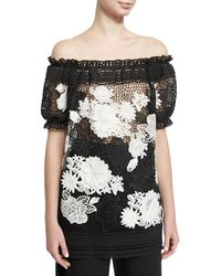 Naeem Khan - Two-tone Off-the-shoulder Floral Lace Top - Lyst