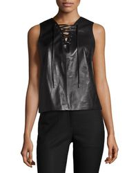 Lamarque - Alula Lace-up Leather Shell Top - Lyst