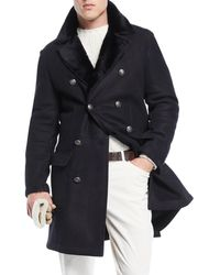 Brunello Cucinelli - Men's Fur-lined Double-breasted Overcoat - Lyst