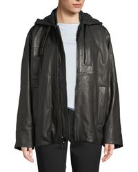 Vince - Oversized Zip-front Leather Puffer Jacket - Lyst