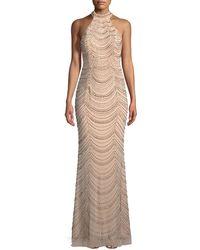 La Femme | Allover Beaded Gown W/ Open Back | Lyst