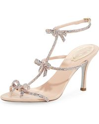 246189762d Rene Caovilla - Mid-heel T-strap Sandal With Bows - Lyst