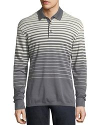 Ermenegildo Zegna - Long-sleeve Striped Polo Shirt - Lyst