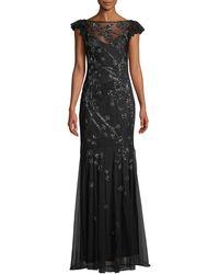 Parker Black - Dollie Embellished Gown W/ Illusion Neck - Lyst