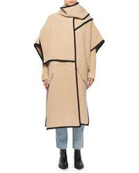 Victoria, Victoria Beckham - Wool-blend Cape Coat W/ Attached Scarf & Satin Trim - Lyst