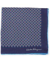 Ferragamo - Solid Border Gancini Silk Pocket Square - Lyst
