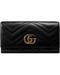 3e999192b36 Gucci - GG Marmont Medium Quilted Flap Wallet Black - Lyst