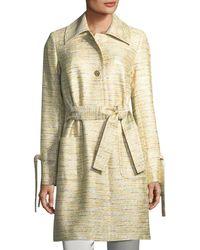 St. John - Metallic Tweed Belted Coat - Lyst