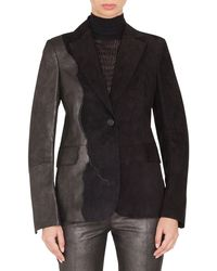 Akris - Seth One-button Suede Patchwork Leather Jacket - Lyst