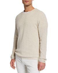 Neiman Marcus - Men's Shaker Knit Organic Cotton Crewneck Sweater - Lyst