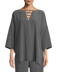 Go> By Go Silk - Silk Crepe Open-detail Top - Lyst