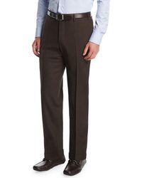 Canali - Melange Stretch-wool Flat-front Pants - Lyst