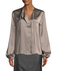 Vince - Silk Tie-neck Long-sleeve Popover Blouse - Lyst