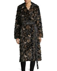 Helmut Lang - Tortoise Faux-fur Shawl-collar Belted Coat W/ Faux-leather Trim - Lyst
