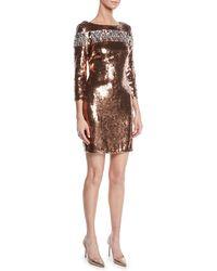 Aidan Mattox - Embellished Sequined Sheath Dress - Lyst