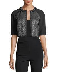 Carmen Marc Valvo - Cropped Metallic Tweed Cocktail Jacket - Lyst