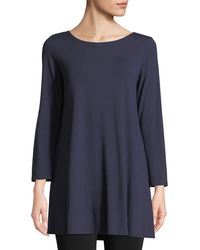 Eileen Fisher - Petite Wide-sleeve Ballet-neck Viscose Jersey Tunic - Lyst