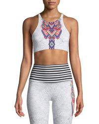 Onzie - High-neck Elastic Graphic Low-impact Sports Bra - Lyst