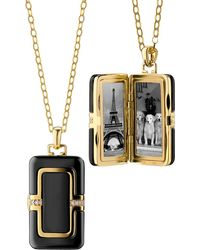 Monica Rich Kosann - 18k Ceramic Rectangle Locket With Diamonds 32l - Lyst