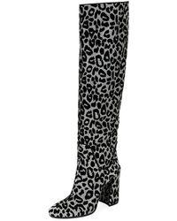 Dolce & Gabbana - Metallic Leopard Block-heel Knee Boot - Lyst