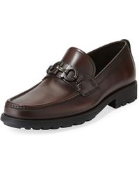 Ferragamo - Men's David Leather Lug-sole Loafer - Lyst